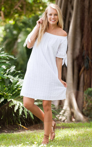 White Off the Shoulder Cotton Dress