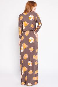 Positano Floral Knit Maxi Dress with Sleeves