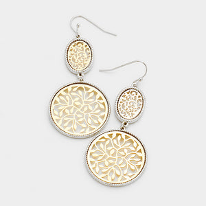 Daisy Filigree Dangle Earrings - Gold w. Silver Trim