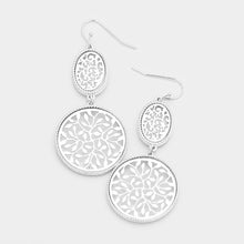 Daisy Filigree Dangle Earrings - Rhodium