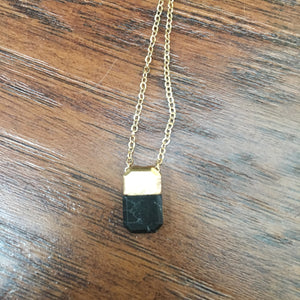 Jessie Delicate Drop Necklace Black and Gold Natural Stone