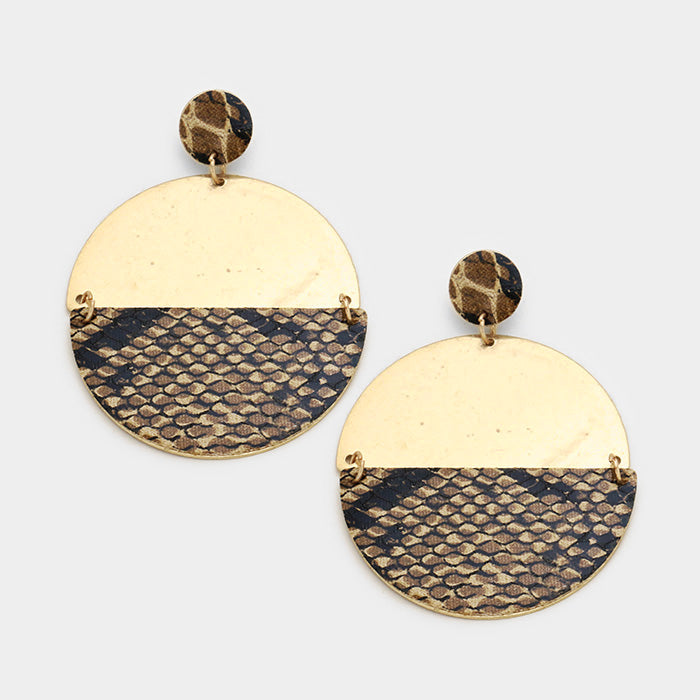 shay-snake-skin-single-disc-earring-brown