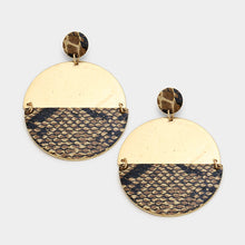 Shay Snake Skin Single Disc Earring - Brown