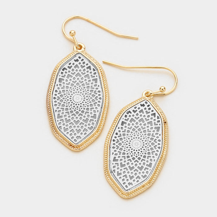 Celia Filigree Earrings - Rhodium with Gold Trim