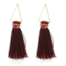Samantha Triangular Tassel Earring - Burgundy