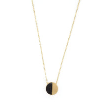 Simplicity Disc Necklace Natural Stone- Black