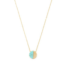 Simplicity Disc Necklace Natural Stone- Turquoise