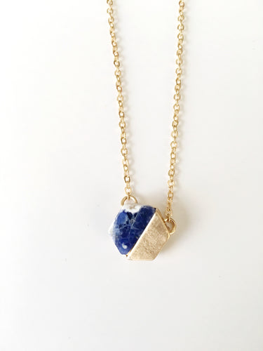 Hex Delicate Necklace Natural Stone- Lapis and White
