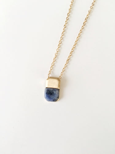 Delicate Simple Necklace Lapis Stone
