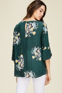 Forest Green Boho Floral Top