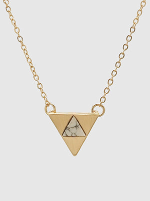 Triangular Necklace White Natural Stone