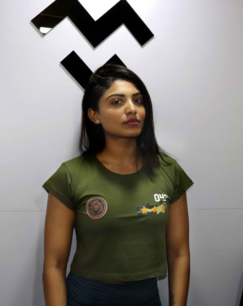 Armed Forces Crop Top - Military Green