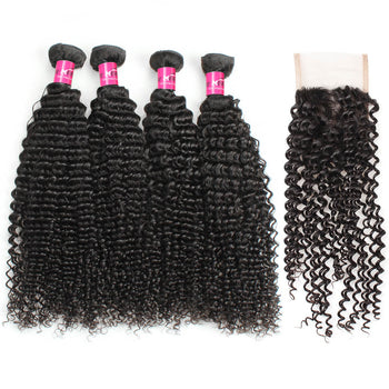 Malaysian Kinky Curly Hair 4 Bundles With Lace Closure - ExcellentVirginHair
