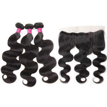 Brazilian Body Wave Virgin Hair 3 Bundles With 13x4 Lace Frontal - ExcellentVirginHair