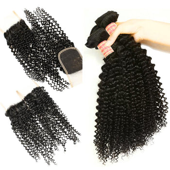 Brazilian Kinky Curly Human Hair 3 Bundles with 4x4 Lace Closure - Urfirst Hair
