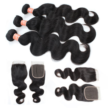 Ama Peruvian Body Wave Hair 4 Bundles with Lace Closure - ExcellentVirginHair