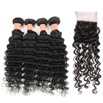 Indian Deep Wave Human Hair 4 Bundles with Lace Closure - ExcellentVirginHair