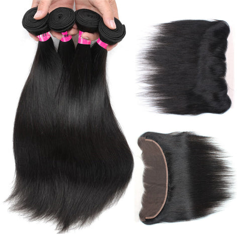 Malaysian Straight Virgin Hair 3 Bundles With 13x4 Lace Frontal