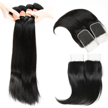 Straight Brazilian Virgin Human Hair 3 Bundles with Lace Closure - Urfirst Hair
