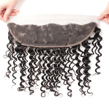 Ama Brazilian Deep Wave 13x4 Ear To Ear Lace Frontal Closure 1pc/lot - ExcellentVirginHair