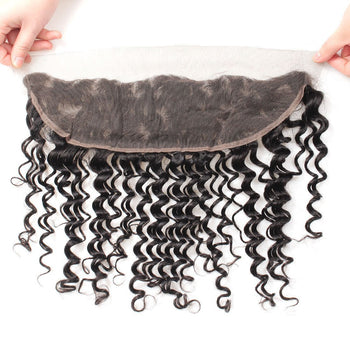 13x4 Ear To Ear Brazilian Deep Wave Human Hair Lace Frontal Closure 1pc/lot - Urfirst Hair
