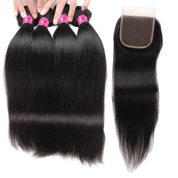 Malaysian Straight Hair 4 Bundles With Lace Closure - ExcellentVirginHair