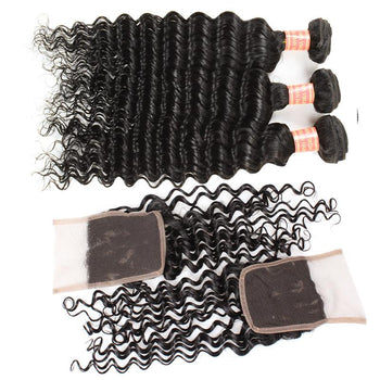 Peruvian Virgin Human Hair Deep Wave 3 Bundles with 4x4 Lace Closure - Urfirst Hair
