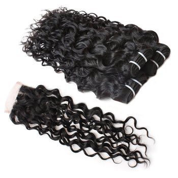 Virgin Indian Hair Water Wave 4 Bundles with 4x4 Lace Closure - Urfirst Hair