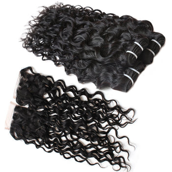Brazilian Virgin Human Hair Water Wave with Closure 3 Bundles with Lace Closure - ExcellentVirginHair