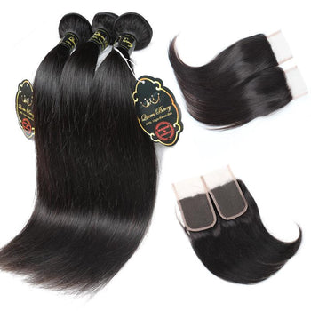 Funmi Indian Straight Hair 3 Bundles With 4x4 Lace Closure - ExcellentVirginHair