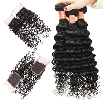 Malaysian Deep Wave Virgin Hair 3 Bundles with 4x4 Lace Closure - Urfirst Hair