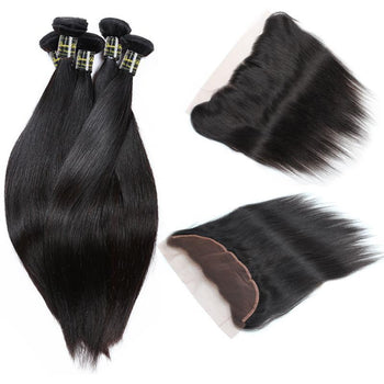 Funmi Malaysian Virgin Straight Hair 3 Bundles With Lace Frontal - ExcellentVirginHair