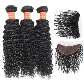 Brazilian Curly Virgin Hair 3 Bundles with 13x4 Lace Frontal Closure - Urfirst Hair