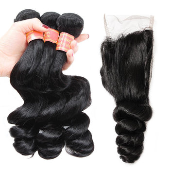 Malaysian Virgin Hair Loose Wave 3 Bundles with 4x4 Lace Closures - ExcellentVirginHair