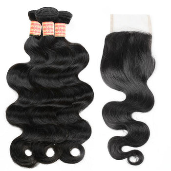 Brazilian Body Wave Hair 4 Bundles with Lace Closure - Urfirst Hair