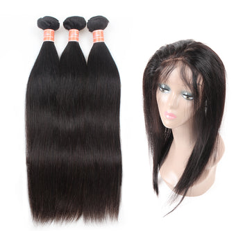 Peruvian Ama Straight Human Hair 2 Bundles with 360 Lace Closure - ExcellentVirginHair