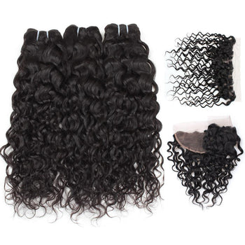 Indian Water Wave Virgin Hair 3 Bundles with 13x4 Lace Frontal Closure - ExcellentVirginHair