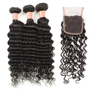 Brazilian Deep Wave Virgin Hair 3 Bundles with 4x4 Lace Closure Closure - Urfirst Hair