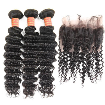 Indian Deep Wave Virgin Hair 2 Bundles with 360 Lace Frontal Closure - Urfirst Hair