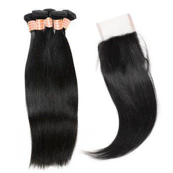 Brazilian Straight Hair 4 Bundles with Lace Closure - ExcellentVirginHair