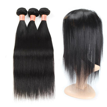 Brazilian Straight Human Hair 2 Bundles with 360 Lace Closure - ExcellentVirginHair