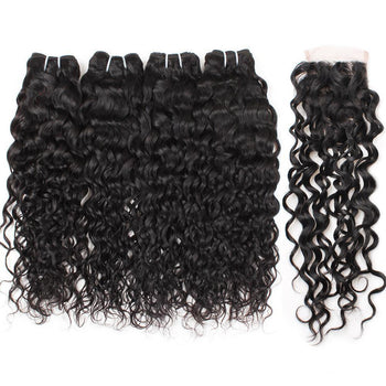 Malaysian Water Wave Hair 4 Bundles with Lace Closure - Urfirst Hair