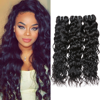 "Ama Unprocessed Brazilian Virgin Hair Water Wave 3 Bundles 8""-28"" Natural Black - ExcellentVirginHair"