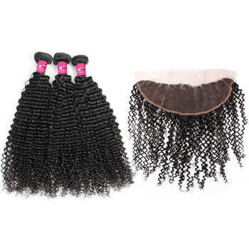 Brazilian Curly Virgin Hair 3 Bundles With 13x4 Lace Frontal - ExcellentVirginHair