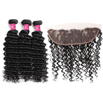Malaysian Deep Wave Virgin Hair 3 Bundles With 13x4 Lace Frontal - ExcellentVirginHair