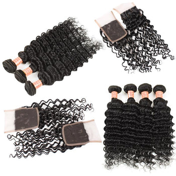 Brazilian Deep Wave Hair 4 Bundles with Lace Closure - Urfirst Hair
