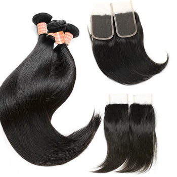 Malaysian Virgin Straight Hair 3 Bundles with Lace Closure - ExcellentVirginHair