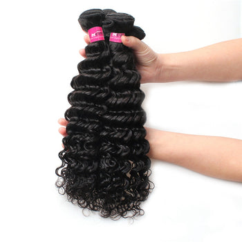 Indian Virgin Hair 100% Unprocessed Human Hair Deep Wave 4 Bundles - ExcellentVirginHair