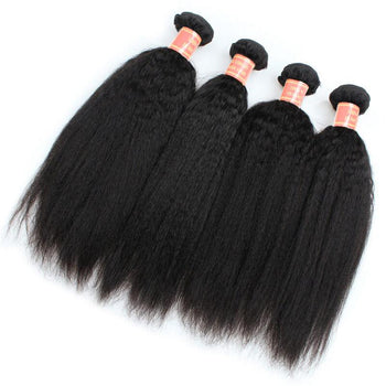 Italian Yaki Straight Malaysian Human Hair 4 Bundles - ExcellentVirginHair