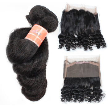 Ama Malaysian Loose Wave Hair 2 Bundles with 360 Lace Frontal Closure - ExcellentVirginHair